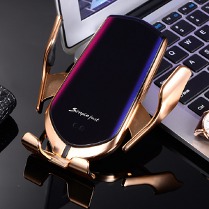 Gold Auto Clamp Wireless Car Charging Mount