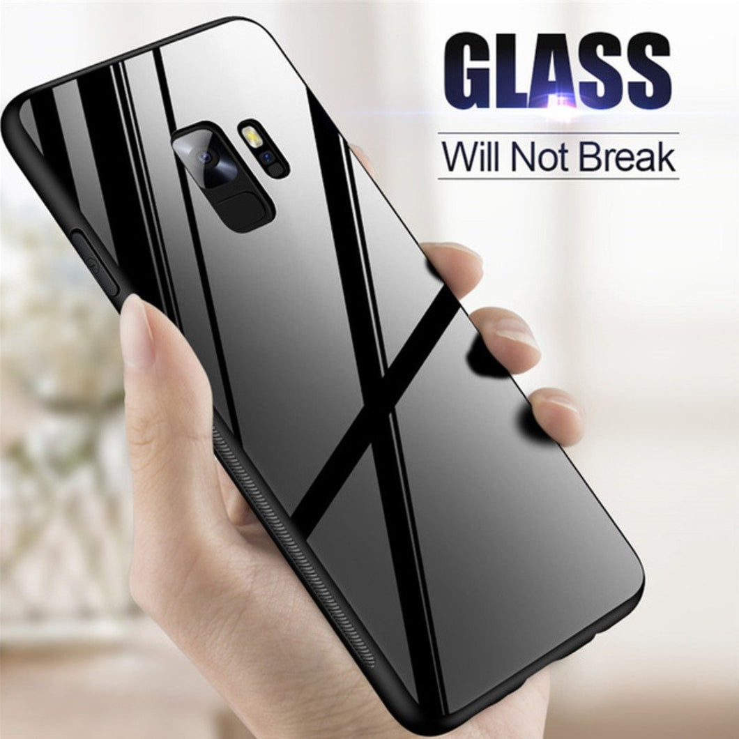 Galaxy S9 (3 in 1 Combo) Glass Back Case + Tempered Glass + Earphones
