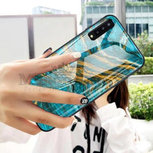 Load image into Gallery viewer, Galaxy A70 (3 in 1 Combo) Soothing Sea Pattern Marble Glass Back Case + Camera Lens Guard + Tempered Glass.