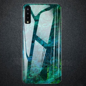 Galaxy A70 (3 in 1 Combo) Soothing Sea Pattern Marble Glass Back Case + Camera Lens Guard + Tempered Glass.
