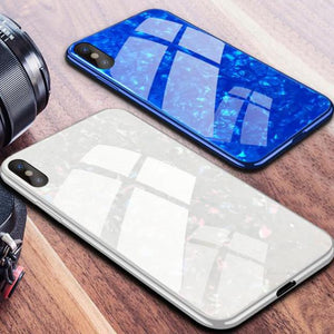 iPhone X Dream Shell Textured Marble Case + Tempered Glass + Camera Lens Guard