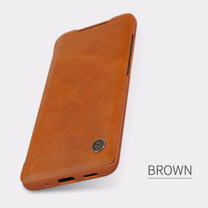 Galaxy S20 Genuine QIN Leather Flip Case