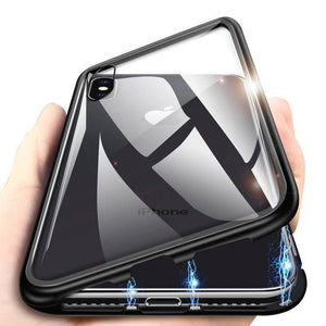 iPhone Model (3 in 1 Combo) Auto-Fit Magnetic Case + Tempered Glass + Camera Lens Guard
