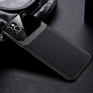 iPhone 11 Pro Max Sleek Slim Leather Glass Case
