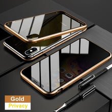 Load image into Gallery viewer, iPhone X (Front+ Back) Anti Spy Glass Magnetic Case + Tempered Glass + Camera Lens Guard