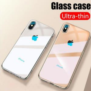 iPhone X Glass Back Case + Tempered Glass + Camera Lens Guard