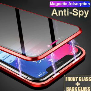 iPhone X (Front+ Back) Anti Spy Glass Magnetic Case + Tempered Glass + Camera Lens Guard