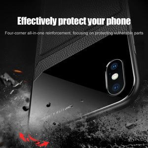 iPhone XR Leather Glass Case + Tempered Glass + Camera Lens Guard