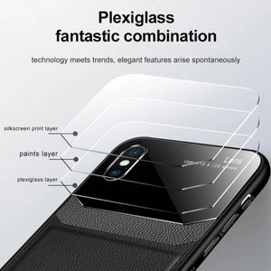iPhone XS Max Sleek Slim Leather Glass Case
