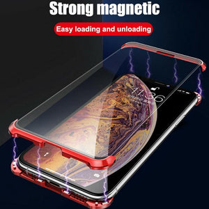 iPhone XS Frameless (Front+ Back) Magnetic Glass Case + Tempered Glass + Camera Lens Guard