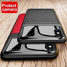 Load image into Gallery viewer, iPhone XR Leather Glass Case + Tempered Glass + Camera Lens Guard
