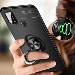 Galaxy A21s Metallic Finger Ring Holder Matte Case