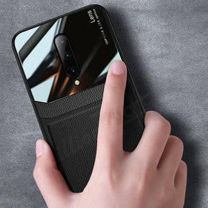 OnePlus 7 Pro (3 in 1 Combo) Leather Lens Case + Tempered Glass + Camera Lens Guard