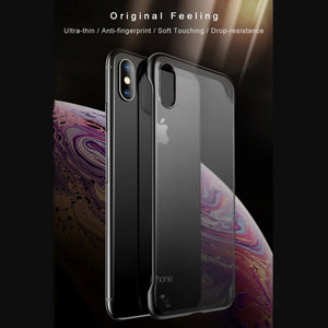 iPhone XS Frameless Ring Transparent Case + Tempered Glass + Camera Lens Guard