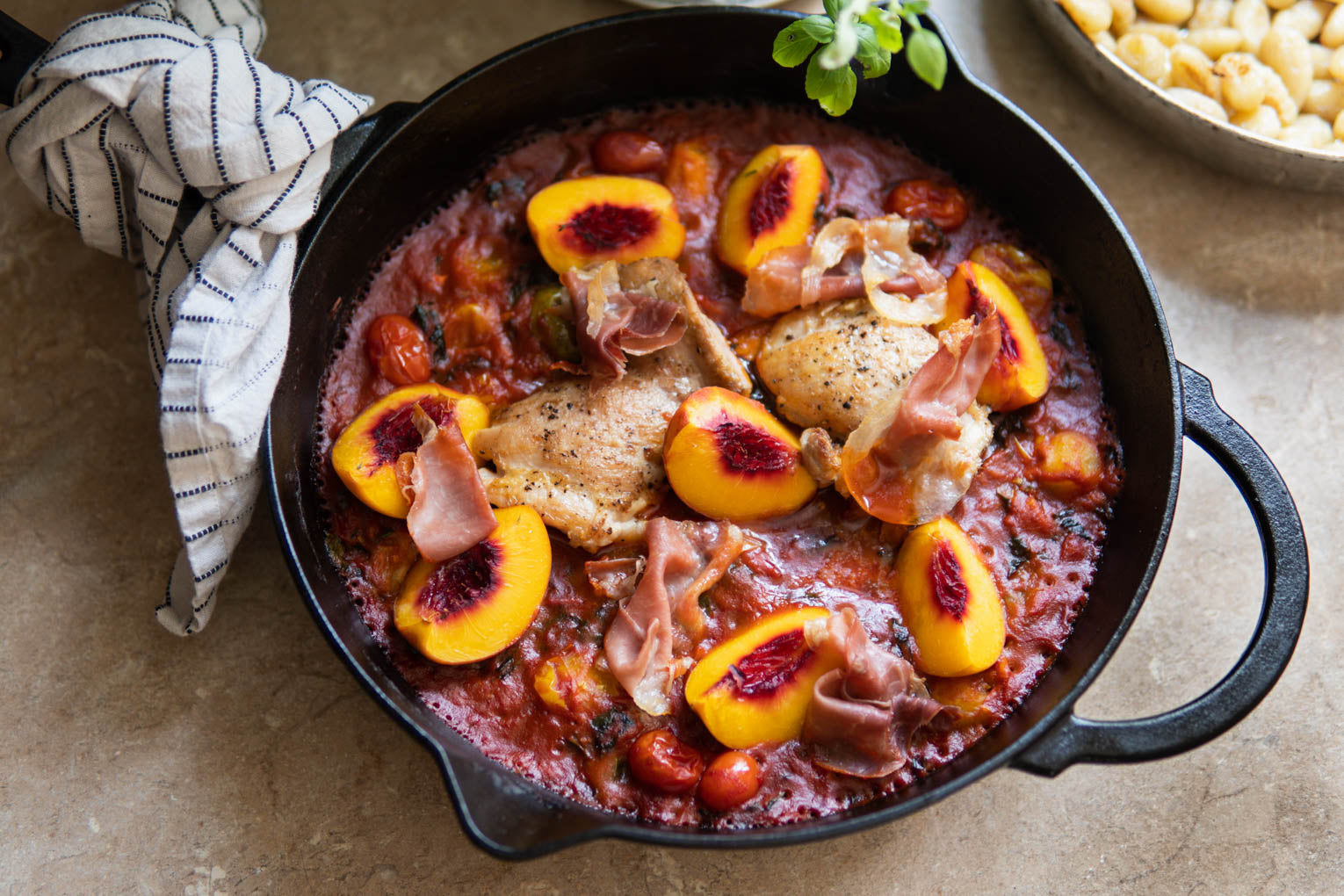 Harissa Tomato + Peach Gnocchi with Chicken Thighs + Crispy Prosciutto