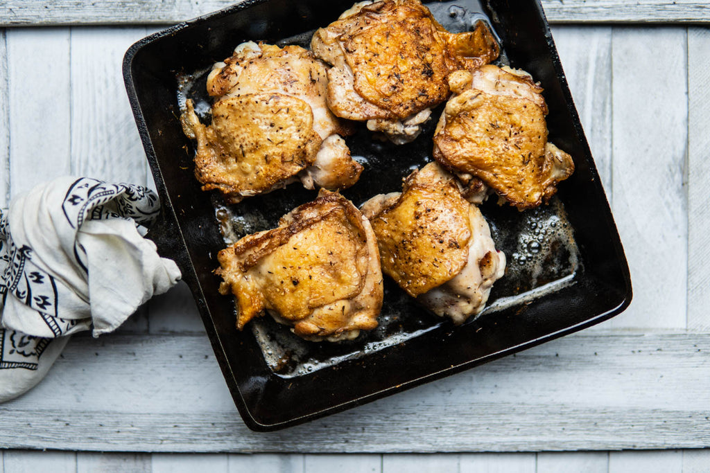Brown Butter Crispy Chicken Thighs