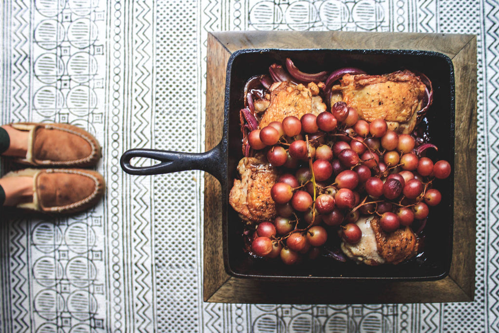 Crispy Chicken Thighs with Balsamic Red Onions and Roasted Grapes