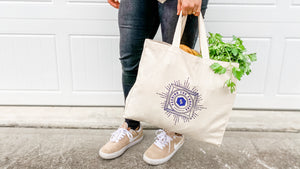 Natural Canvas Market Tote w/ Logo