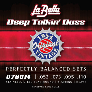 La Bella 0760M Deep Talkin' Bass, 1954 Stainless Steel Flat Wound Bass Guitar Strings
