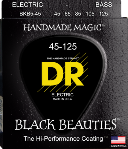 DR Strings BKB5-45 BLACK BEAUTIES Coated Bass Guitar Strings, 5-String, 45-125