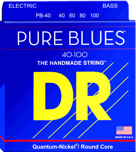 DR Strings PB-40 Pure Blues Bass Guitar Strings, Light 40-100