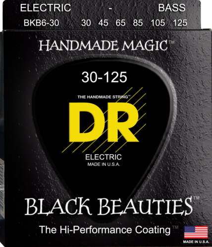 DR Strings BKB6-30 BLACK BEAUTIES Coated Bass Guitar Strings, 6-String, 30-125