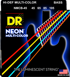 DR Strings NMCB-45 Neon Multi-Color Bass Guitar Strings, 45-105