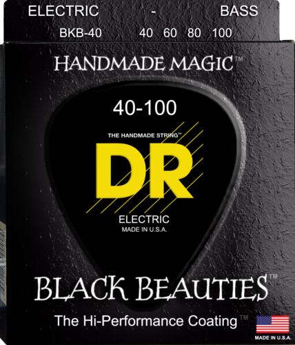 DR Strings BKB-40 BLACK BEAUTIES Coated Bass Guitar Strings, Light 40-100