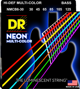 DR Strings NMCB6-30 Neon Multi-Colored Bass Strings, 6-String 30-125