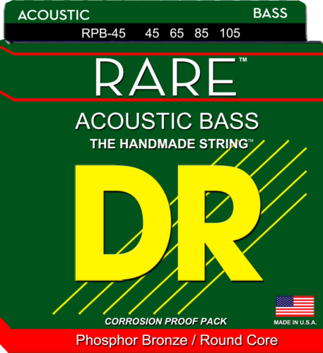 DR Strings RPB-45 Rare Phosphor Bronze Acoustic Bass Strings, Medium 45-105