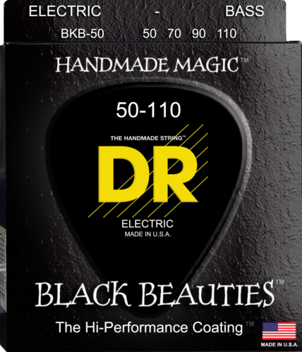 DR Strings BKB-50 BLACK BEAUTIES Coated Bass Guitar Strings, Heavy 50-110
