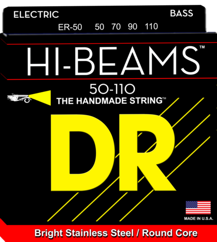 DR Strings ER-50 HI-BEAM Stainless Steel Round Core Bass Strings, Heavy 50-110