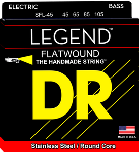 DR Strings SFL-45 LEGEND Flatwound Stainless Bass Guitar Strings 45-105
