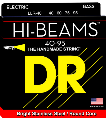 DR LLR-40 HI-BEAM Round Core Stainless Steel Bass Strings, Light 40-95