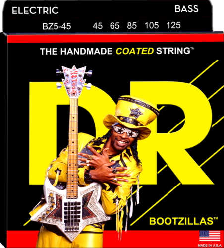 DR Strings BZ5-45 BOOTZILLAS Coated Stainless Steel Bass Strings, 5-String 45-125