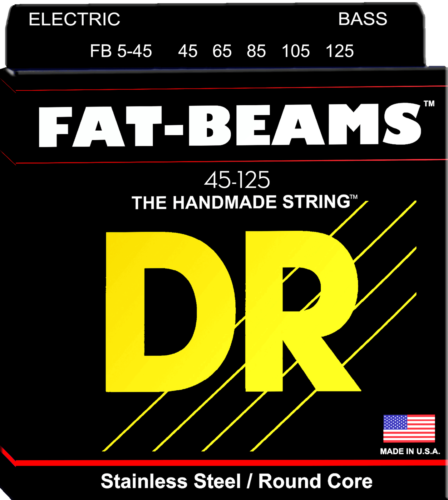DR Strings FB5-45 FAT BEAMS Compression-Wound Stainless Steel Bass Strings, 5-String 45-125