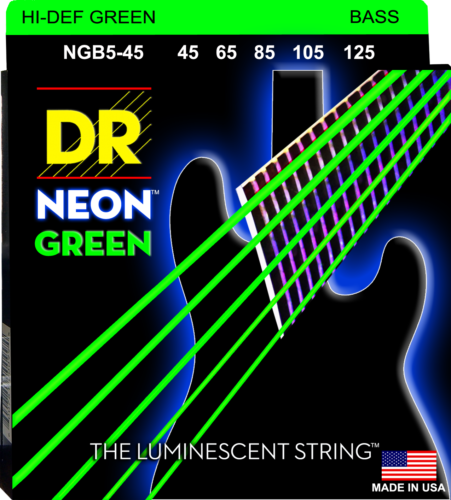 DR Strings NGB5-45 NEON GREEN Coated Bass Guitar Strings, 5-String Set 45-125