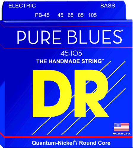 DR Strings PB-45 Pure Blues Bass Guitar Strings, Medium 45-105