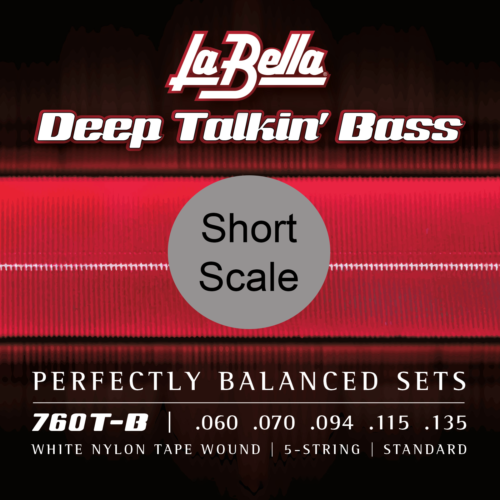 La Bella 760T-B-S White Nylon Tapewound Bass Strings, Short Scale, 5-String