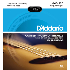 D'Addario EXPPBB170-5 Coated Phosphor Bronze Acoustic 5 String, Long Scale, 45-130