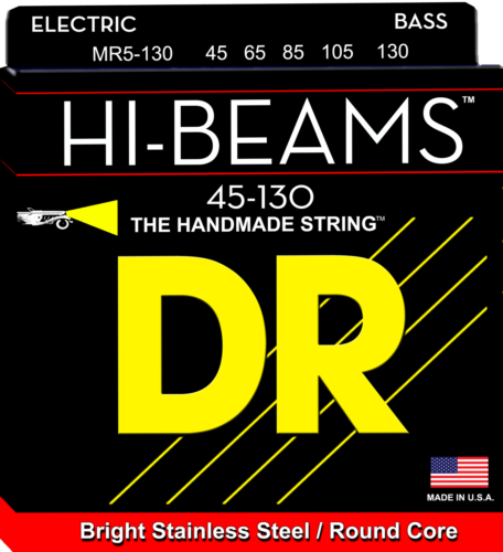 DR Strings MR5-130 HI-BEAM Stainless Round Core Bass Strings, 5-String 45-130