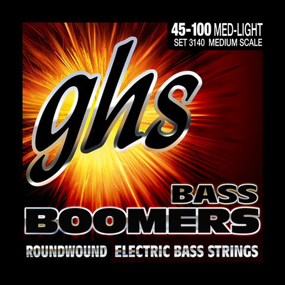 GHS 3140 Bass Boomers Bass Guitar Strings, Medium Scale 45-100