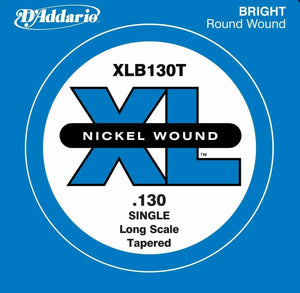 D'Addario XLB130T Nickel Wound Bass Guitar Single String, Long Scale, .130, Tapered