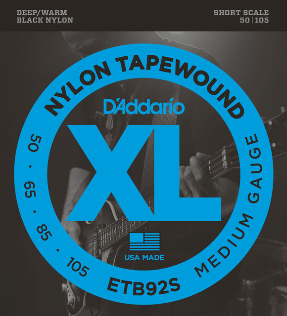 D'Addario ETB92S Short Scale Black Nylon Tapewound Bass Strings, 50-105