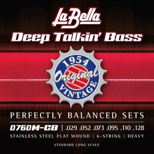 La Bella 0760M-CB Deep Talkin' Bass, 1954 Stainless Steel Flatwounds 6-String Set