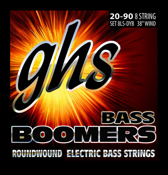 GHS 8LS-DYB Bass Boomers Bass Strings, 8-String Set, Extra Long Scale