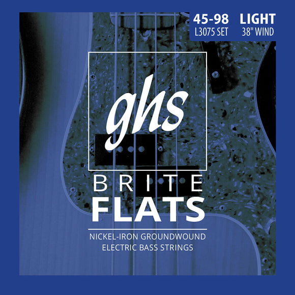 GHS L3075 Brite Flats Nickel-Iron Groundwound Bass Strings, Light 45-98