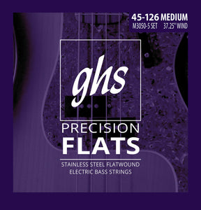 GHS M3050-5 Precision Flats Bass Guitar Strings, 5-String 45-126