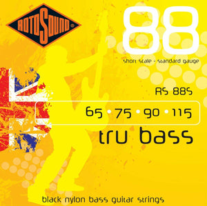 Rotosound RS88S Tru Bass 88 Black Nylon Flatwound Bass Guitar Strings - Short Sc