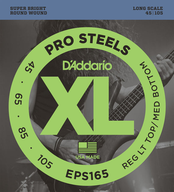 D'Addario EPS165 ProSteels Bass Guitar Strings, Custom Light, 45-105